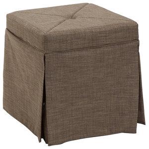 Upholstered Tufted Vanity Stool Transitional Vanity