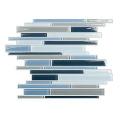 "11.7""x11.7"" Random Linear Crystal Glass Mosaic, Set Of 4, Stormy Skies Clear"