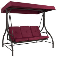 Converting Outdoor Steel Canopy Porch Swing Hammock 3 Seat Into Bed, Burgundy