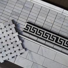 Carrara 1x3 Mosaic And Subway Tile Along With Greek Key