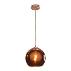 """Glow Pendant, 10""""W, Brushed Copper Finish, Copper Shade"""