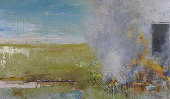 Barn Series: Pink Sky, 36x48, mixed media