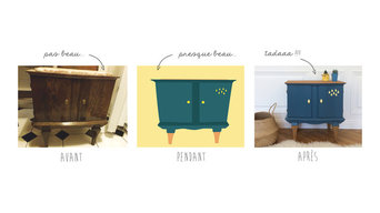 Meuble d'appoint vintage «Yellow rain»