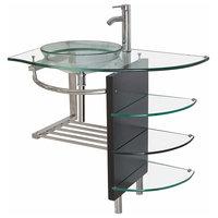 36 Inches Wide Modern Bathroom Glass Vessel Sink Vanity Combo faucet pop-u