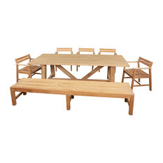 """7 PCS. DINING SET. 39"""" X 94"""" TUSCANY RECLAIMED TEAK TABLE WITH 5 ST. LUCIE ARMCH"""
