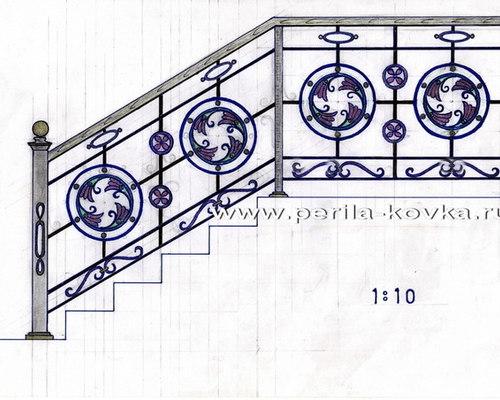 Эскизы кованых перил, ограждений, перегородок - коллекция эскизов ограждений - Заборы и ворота