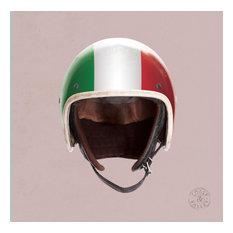 """Helmet"" Canvas Print on Pink Background, Italian Flag, 40x40 cm"