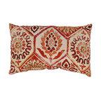 Summer Breeze Crimson Rectangle Throw Pillow