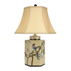 "22"" Birds and Flowers Porcelain Jar Lamp"