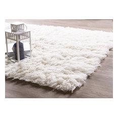 Pure Eco-Friendly Wool Flokati Shag Rug, White, 2'x3'