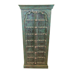 Mogul Interior - Consigned Antique Mehrab Arch Door Teak Wood Armoire Green Patina Cabinet - Armoires and Wardrobes
