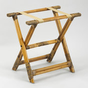 Rattan Luggage Rack with Brown Cloth Straps