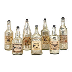 Apothescary Halloween Vintage Label Glass Bottles, Set of 7