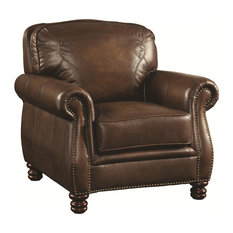 Coaster Montbrook Traditional Chair With Rolled Arms and Nail Head Trim, Black