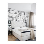 "Peony Flower Mural Wall Art Wallpaper, Peel and Stick, Black & White, 24""x96"""