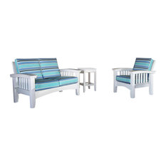 Cypress Painted White Outdoor Sofa and Chair Set, Spectrum Cilantro