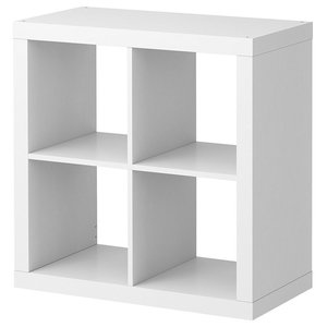 Modern Display Shelving Unit, White Painted MDF With 4 Open Compartments