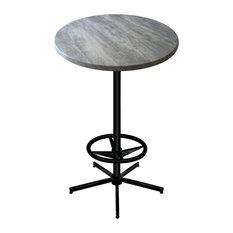 "OD216 Black Table with 36"" Diameter Indoor/Outdoor Greystone Top, 36"""