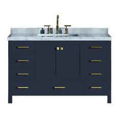 "Ariel Cambridge 55"" Single Sink Vanity, Midnight Blue, Rectangular Sink No Mirro"