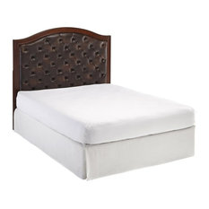 home styles furniture duet tufted diamond camelback leather headboard brown
