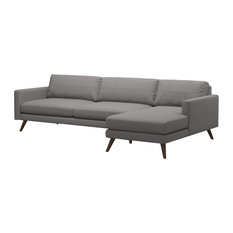 Dane 116-inch Sofa With Chaise Fabric Color: Mouse Honey Leg Finish Left-Facing