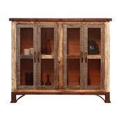 Bayshore Rustic Solid Pine Wood 4-Door Sideboard, Mesh Doors