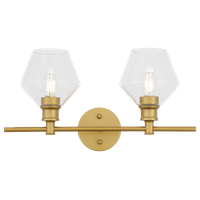 Brass Finish And Clear Glass 2-Light Wall Sconce