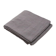 Steel Gray Stone Washed Bed Linen Flat Sheet, Twin