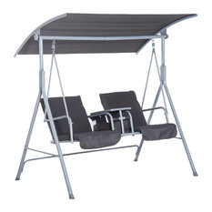 Outsunny 2 Person Porch Covered Swing Outdoor with Table and Storage - Grey