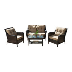 GDFStudio - 4-Piece Haiden Outdoor Brown Wicker Sofa Set - Outdoor Lounge Sets
