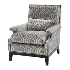 "Living Room Chair, Eichholtz Goldoni, Gray, 29""x33""x37"""