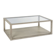 Glass and Grey Wood Box Coffee Table, Large