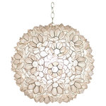 "WORLDS-AWAY - Jupiter Capiz Shell Pendant, 20"" - 20"" diameter Capiz Shell Lotus Pendant."