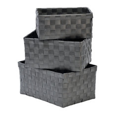 EVIDECO   Checkered Woven Strap Storage Baskets, 3 Piece Set, Gray   Baskets