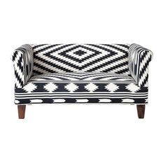 Tabriz Kilim Black and White Love Seat
