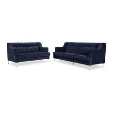 Zuri Furniture - Zara Fabric Tufted Sofa with Chrome Legs, Navy Blue - Sectional  Sofas