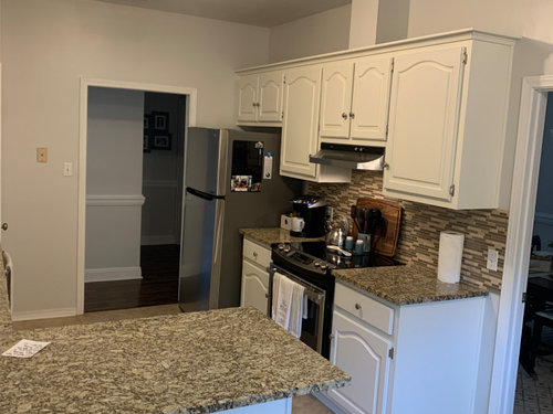 Kitchen Help Cabinets Look Yellow Bm White Dove