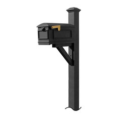 QualArc Westhaven System W/Lewiston Mailbox (No Base) Pyramid Finial - Black