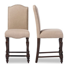 Wakefield Oak Brown Beige Linen Fabric Counter Height Dining Chair, Set of 2