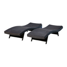 Abbyson Living Palermo Outdoor Adjustable Wicker Chaises, Set of 2, Espresso