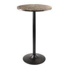 Winsome   Cora Pub Table, Bar Height, Round, Faux Marble Top, Black