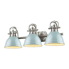 Duncan 3-Light Vanity, Chrome With Black Shade, Pewter, Seafoam