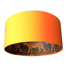 Silhouette Cotton Lampshade, Leopard in Tangerine, 25x25 cm