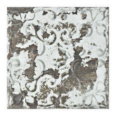 "SomerTile 7.88""x7.88"" Aevum Ceramic Wall Tile, Dark Ornato"