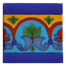 4.2x4.2 9 pcs Aqua Border Talavera Mexican Tile