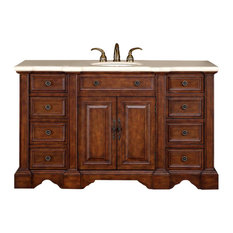 "58"" Hand Crafted Single Sink Vanity With Cream Marble"