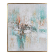 """Oversize Modern 61"""" Pastel Abstract Wall Art Teal White Orange Gold Bright"""