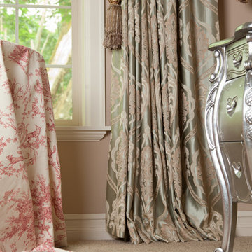 Emerald Bouquet, Valance curtains with swags and cascades by celuce.com