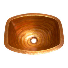 Rectangularl Bathroom Copper Sink  with Flat Sides and Flat Rim