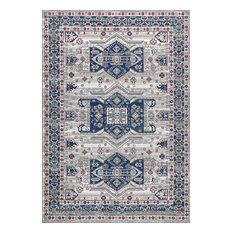 "Modern Persian Vintage Moroccan Light Gray and Blue Rug, 7'9""x10'"
